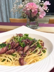 ホタルイカと菜の花のペペロンチーノ.JPG